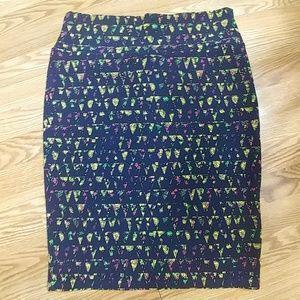 LuLaRoe Cassie Blue Print Skirt XL